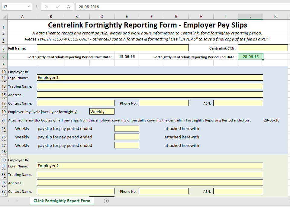 "screen grab of an Excel spreadsheet titled ""Centrelink Fortnightly Reporting Form — Employer Payslips"""